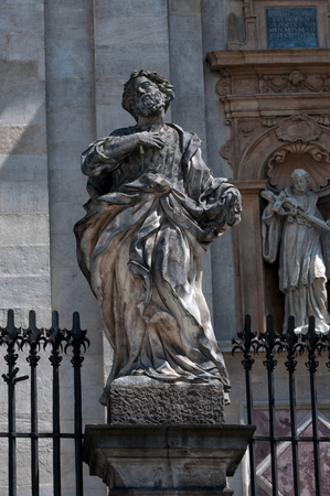 statues of the twelve apostles in Krakow, at the Church Peter and St Paul in Poland. Stock Photo
