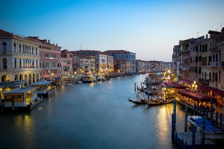 The Grand canal at night photos from the Ponte Rialto, Venice.