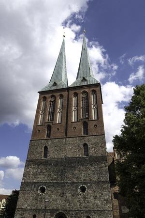 st german: Nikolaikirche or Saint Nicholas Church in Berlin Germany September. Stock Photo