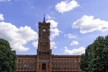 old town guildhall: Panoramic view of the red town hall in Berlin Germany September.