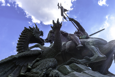 St. Georges fight against the dragon in Berlin Germany September.