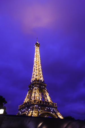 Europe Paris september 2017. Eiffel tower with night illumination.