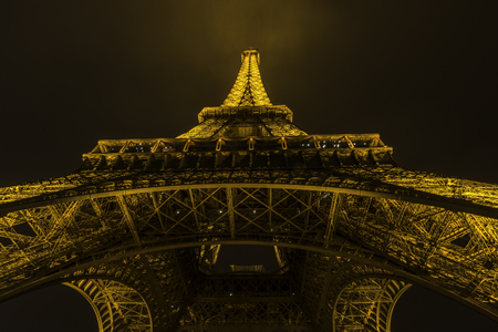 Europe Paris september 2017. Eiffel tower with night illumination