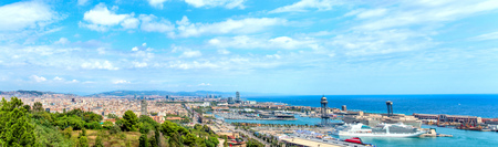 Panoramic view of the port of Barcelona. Spain Catalonia.