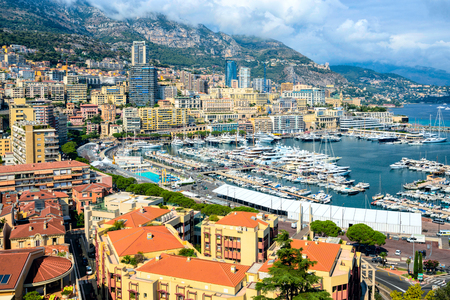 Monaco. Views of expensive yachts as well as on the track Formula-1 in a narrow street in Monaco. Stock Photo