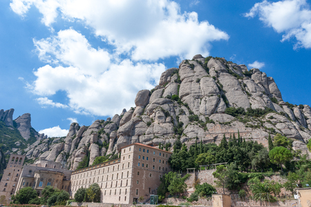 Mountains of Montserrat and the Monastery of Santa Maria de Montserrat Catalonia, Spain.