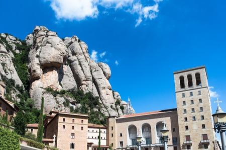 Monastery of Santa Maria de Montserrat on the mountain of Montserrat, Spain. Stock Photo