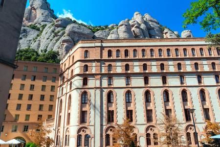 The building of the abbey of Santa Maria de Montserrat in the mountains of Montserrat, Spain