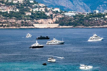 Monaco view of luxury yachts in the port of Monaco.