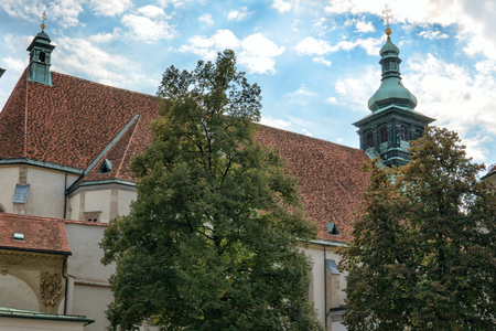 Graz. Austria. View of the Church of St. Catherine and the Church tower in Graz.