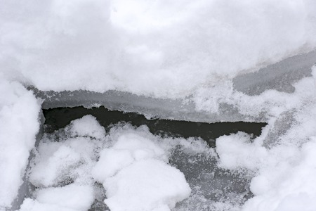 Winter shards of ice on the lake.