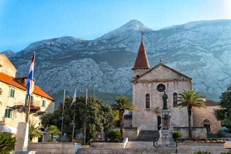 Medieval Church in the historic center of Makarska, Croatia Stock Photo