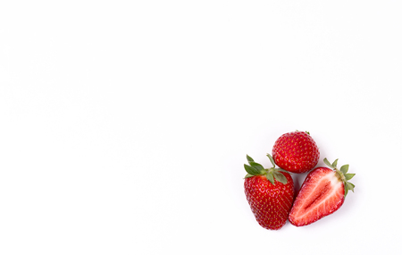 Sweet ripe red strawberry on white background