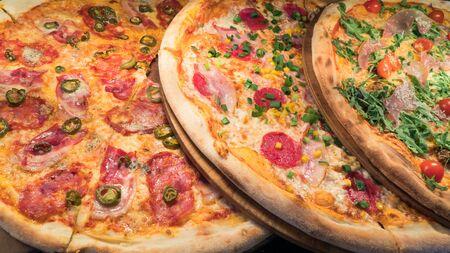Pizza on a shop window, close-up Reklamní fotografie