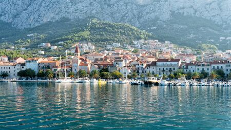 View of the port and Mediterranean city of Makarska, Croatia.