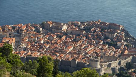 fortress city view from the mountain in Dubrovnik Croatia.