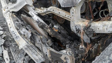 car damaged by fire. arson of cars