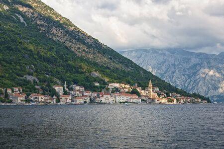 view town of Perast at Bay of Kotor , Montenegro