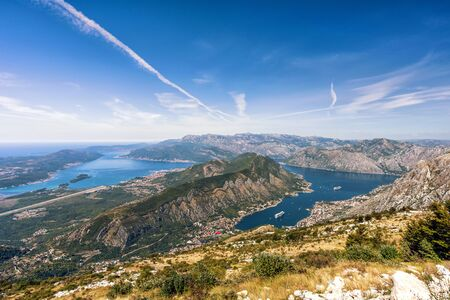 View of the Bay of Kotor and Gulf of Tivat, Montenegro.