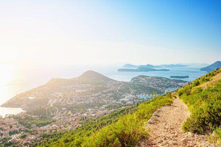 Croatia. Dalmatia. View of Dubrovnik coast and Adriatic sea from the mountain