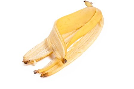 peel from a banana on a white background.