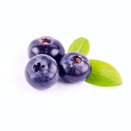 fresh berries of wild blueberry on a white background
