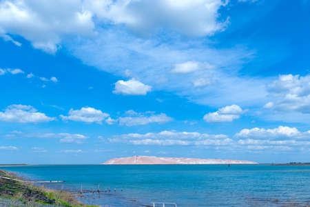 blue sky with white clouds in salt lake Zdjęcie Seryjne
