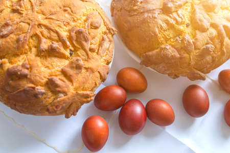 Christian Easter homemade cake and red eggs