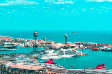 A view of the port of Barcelona from Montjuic. Catalonia Spain