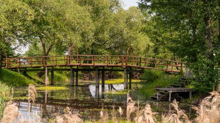 wooden high bridge over an overgrown river bed