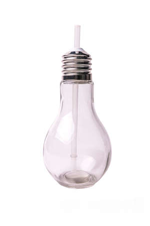 transparent glass for cocktail in the form of a light bulb on a white background Banque d'images