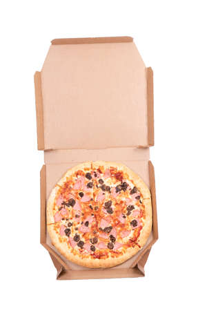 Pizza in a box on a white background 免版税图像
