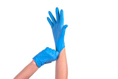 doctor puts on medical gloves. covit-19 coronavirus pandemic