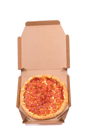 pizza in a paper box on a white background