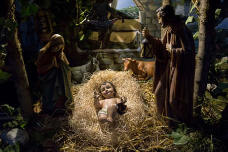 Belgium. Brussels December 2019. Christmas nativity scene in the showcase 新闻类图片