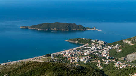 Aerial view of the town of Becici. Montenegro 免版税图像