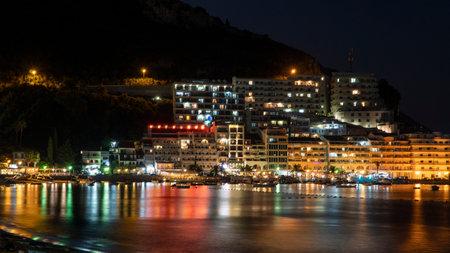 Rafailovici beach at night, Montenegro