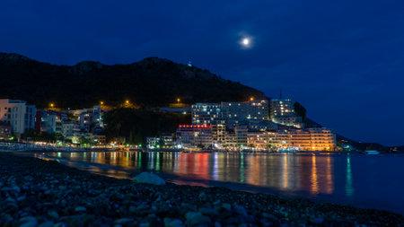 Beautiful view of Rafailovici beach at night, Montenegro