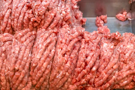 Close-up of minced meat sucking in a supermarket Stok Fotoğraf