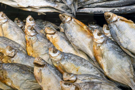 dried fish close-up. dry fish in the store Stok Fotoğraf