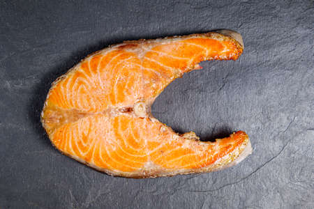 top view of a slice of grilled trout