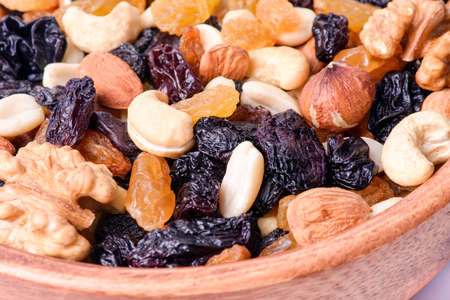 healthy food. background of a mix of dried in a plate close-up Stok Fotoğraf