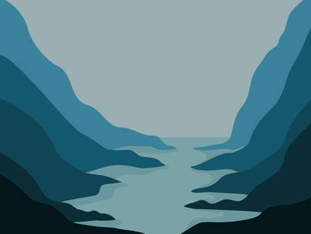 Abstraction for the site. River and mountains sketch