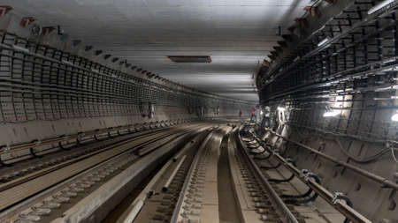 View of the metro tunnel under construction. Stok Fotoğraf