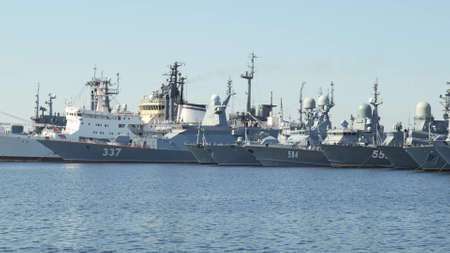 ST. PETERSBURG, RUSSIA - JULY 2021. Russian military base in Kronstadt. Warships at the pier