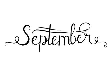 Hand drawn ink lettering September isolated black on white background. Illustration