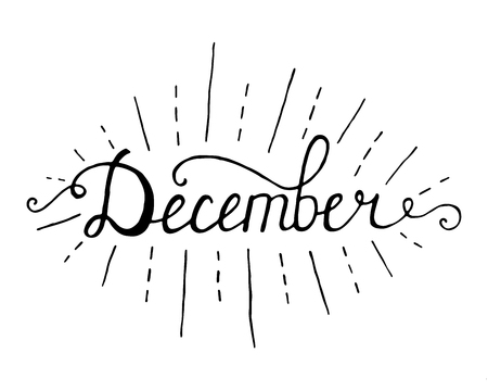 December. Typographic Design. Black Hand Lettering Illustration