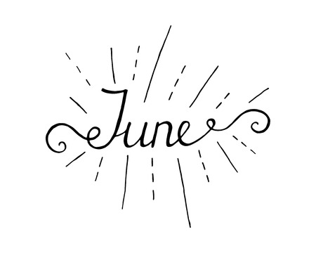 June lettering print. Summer minimalistic illustration. Isolated calligraphy on white background. Yellow rays behind text.