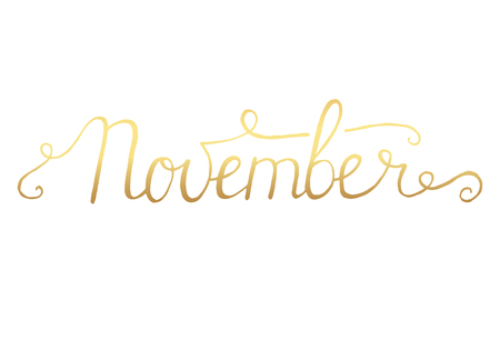 month: November month lettering calligraphy
