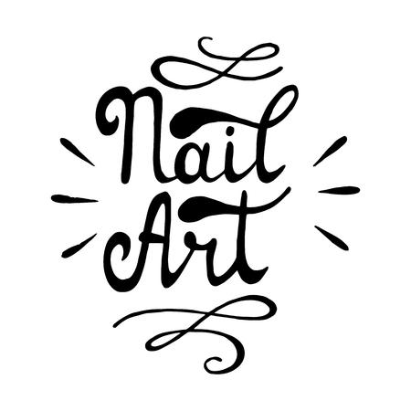 Nagel kunst. Vector illustratie. Belettering Nail Art.
